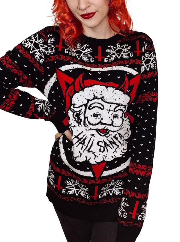 Women's Hail Santa Ugly Christmas Sweater by Too Fast