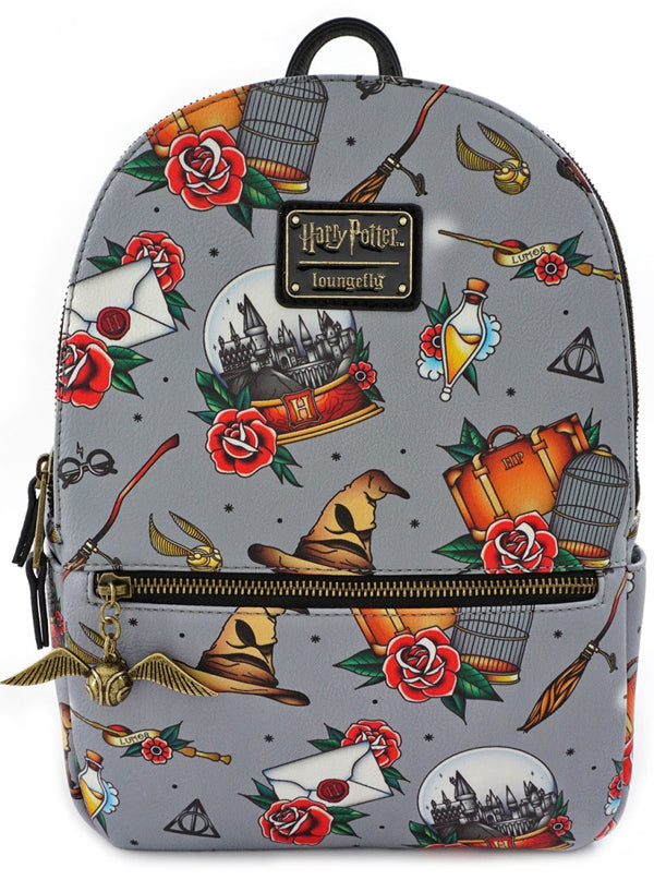 Harry Potter: Relics Tattoo Print Mini Backpack by Loungefly