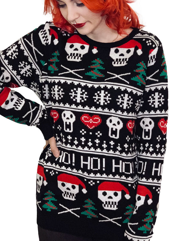 Women's Santa Skulls HO HO HO Ugly Christmas Sweater by Too Fast