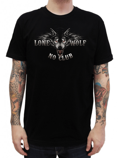 "Men's ""Full Face Lone Wolf"" Tee by Hot Leather (Black) - www.inkedshop.com"