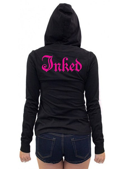 "Women's ""Inked Logo"" Long Sleeve Hooded Tee by Inked (More Options) - www.inkedshop.com"