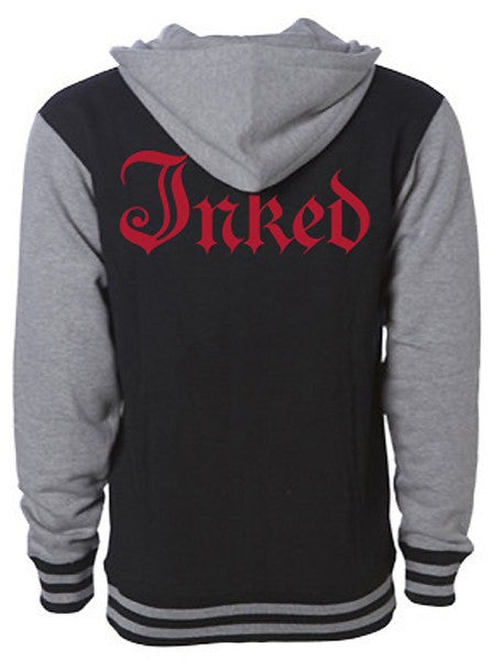 "Men's ""Inked Logo"" Varsity Zip-Up Hoodie by Inked (Black) - www.inkedshop.com"