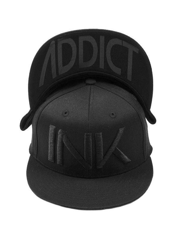 """INK"" Fitted Flat Brim Hat by InkAddict (Black/Black) - www.inkedshop.com"