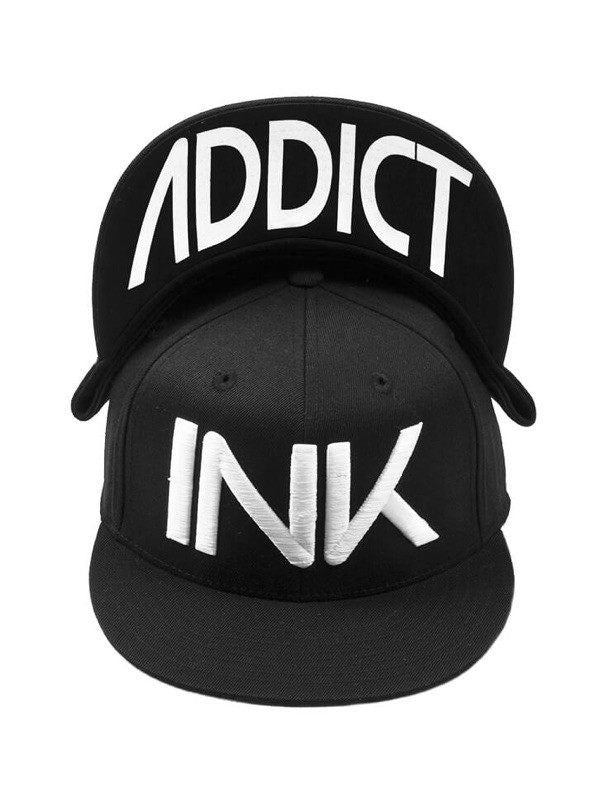 """INK"" Fitted Flat Brim Hat by InkAddict (Black/White) - www.inkedshop.com"