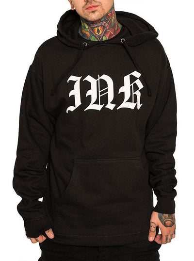 "Men's ""Ink Lettering"" Pullover Hoodie by InkAddict (Black)"