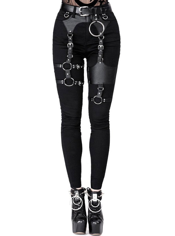 Women's High Waist Harness Skinny Jeans by Restyle