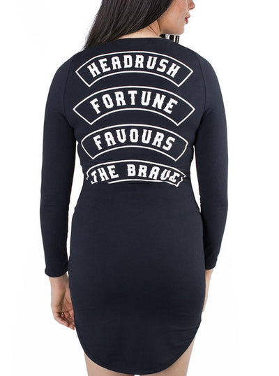 "Women's ""Joan Of Arc"" Snap Neck Rounded Dress by Headrush Brand (Black)"