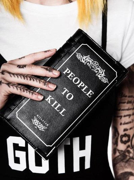 """Kill List"" Book Wallet by Killstar (Black) - www.inkedshop.com"
