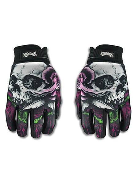 """Floral Skull"" Gloves by Lethal Angel - www.inkedshop.com"