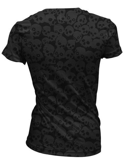 "Women's ""Lip Skull"" Burnout Tee by Lethal Angel (Black) - www.inkedshop.com"