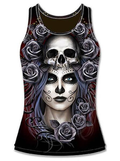 "Women's ""Queen Of Death"" Sublimation Tank by Lethal Angel (Black) - www.inkedshop.com"