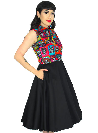 Women's Day of the Dead Catrinas Circle Dress by Hemet