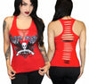 "Women's ""Live Fast Die Last"" Slashed Tank by Demi Loon (Red)"