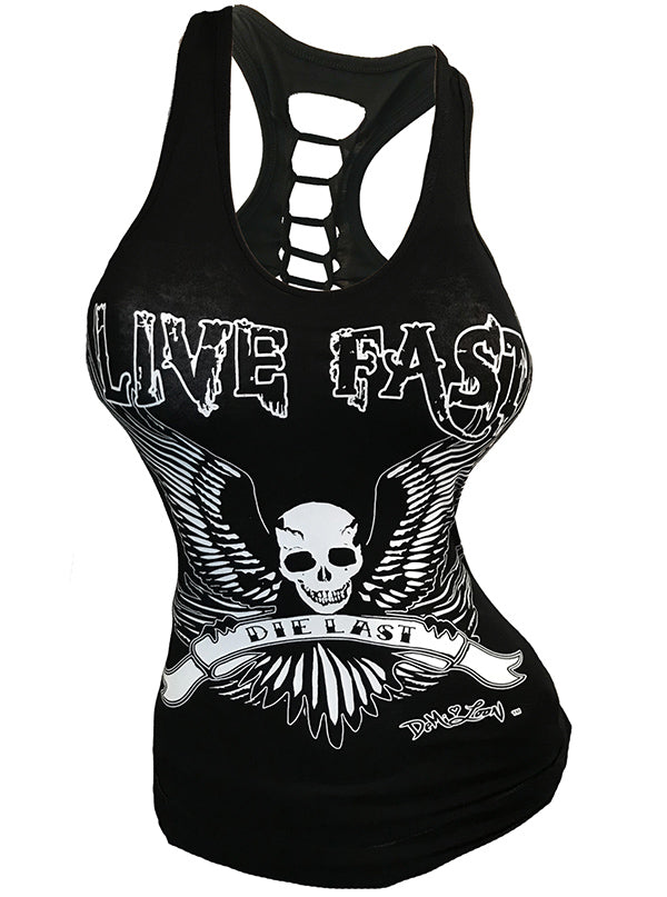 Women's Live Fast Slashed Back Tank by Demi Loon