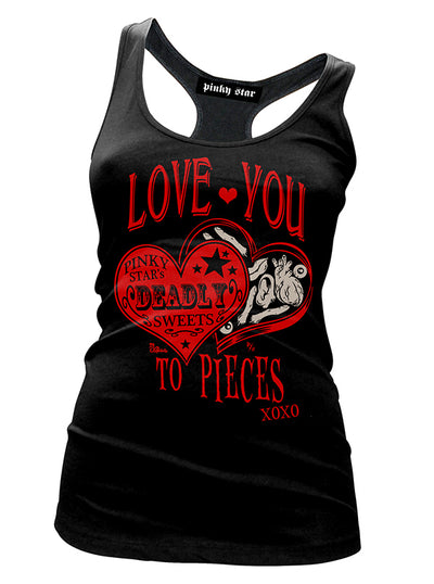 Women's Love You to Pieces Racerback Tank by Pinky Star