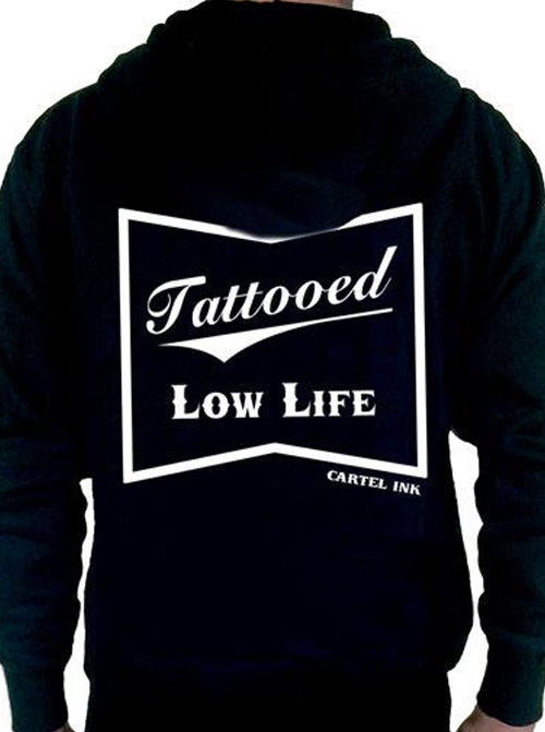 "Men's ""Tattooed Low Life"" Zip-Up Hoodie by Cartel Ink (Black)"