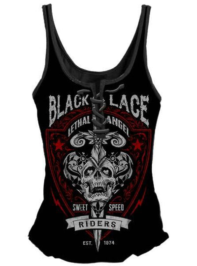 "Women's ""Black Lace Riders"" Lace Up Tank by Lethal Angel (Black)"