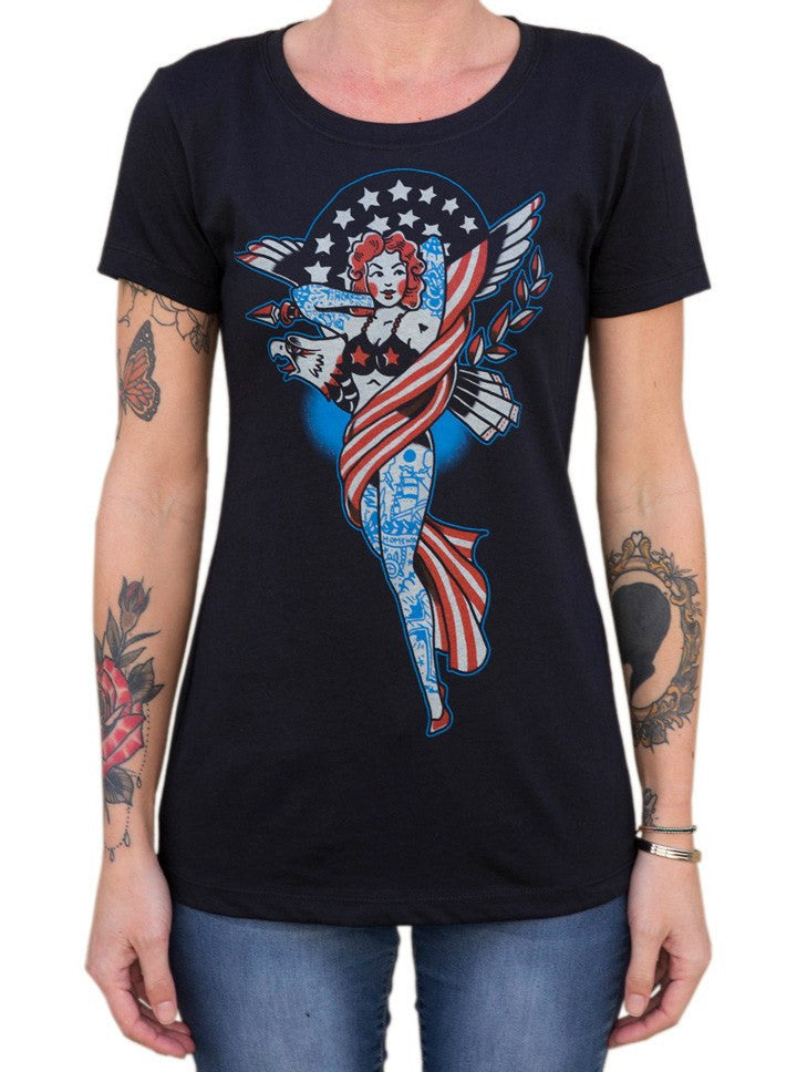 "Women's ""Liberty"" Loose Tee by Black Market Art (Black) - www.inkedshop.com"