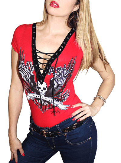 "Women's ""Live Fast"" Corset SS Top by Demi Loon (Red)"