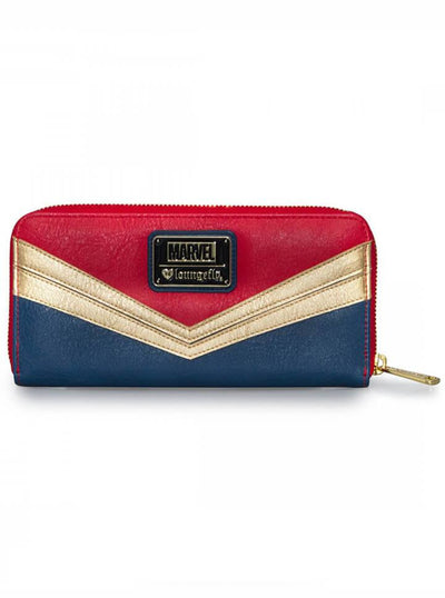 """Captain Marvel"" Wallet by Loungefly x Marvel (Blue/Red/Gold) - www.inkedshop.com"
