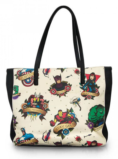 """Tattoo Flash Print"" Tote Bag by Loungefly x Marvel (Beige/Multi) - www.inkedshop.com"