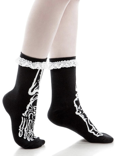 """Morgue"" Ankle Socks by Killstar (Black)"