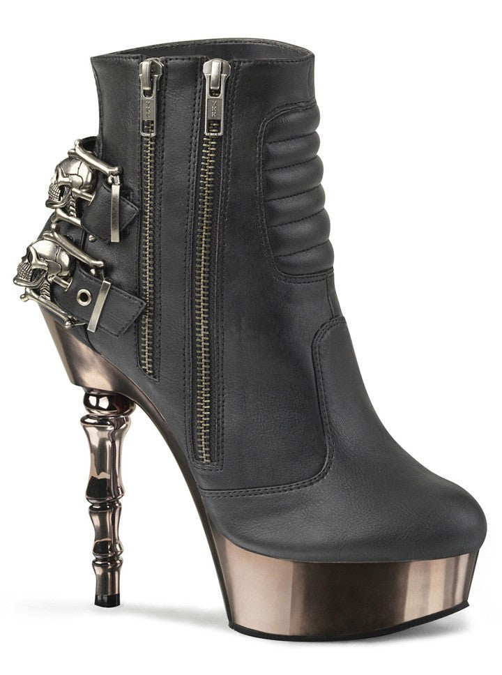 "Women's ""Muerto"" Finger Bone Heel by Demonia (Black) - www.inkedshop.com"
