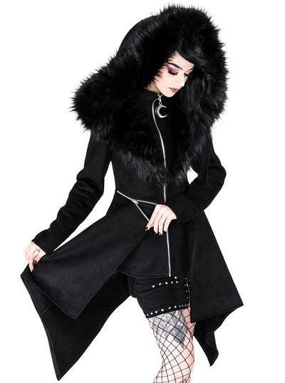 Women's Mysterium Coat with Furry Hood by Restyle