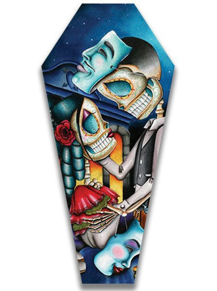 """Masquerade"" Canvas Coffin by Dave Sanchez for Black Market Art Company - www.inkedshop.com"