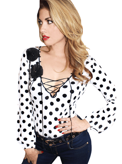 "Women's ""Mimosa"" Lace Front Pinup Top by Demi Loon (White/Black)"