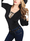"Women's ""Mimosa"" Lace Front Pinup Top by Demi Loon (Black)"