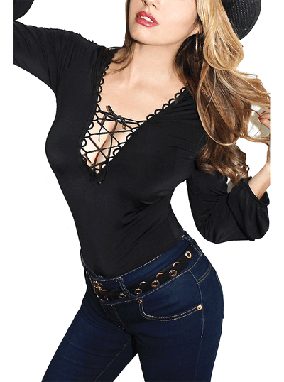 Women's Mimosa Lace Front Pinup Top by Demi Loon