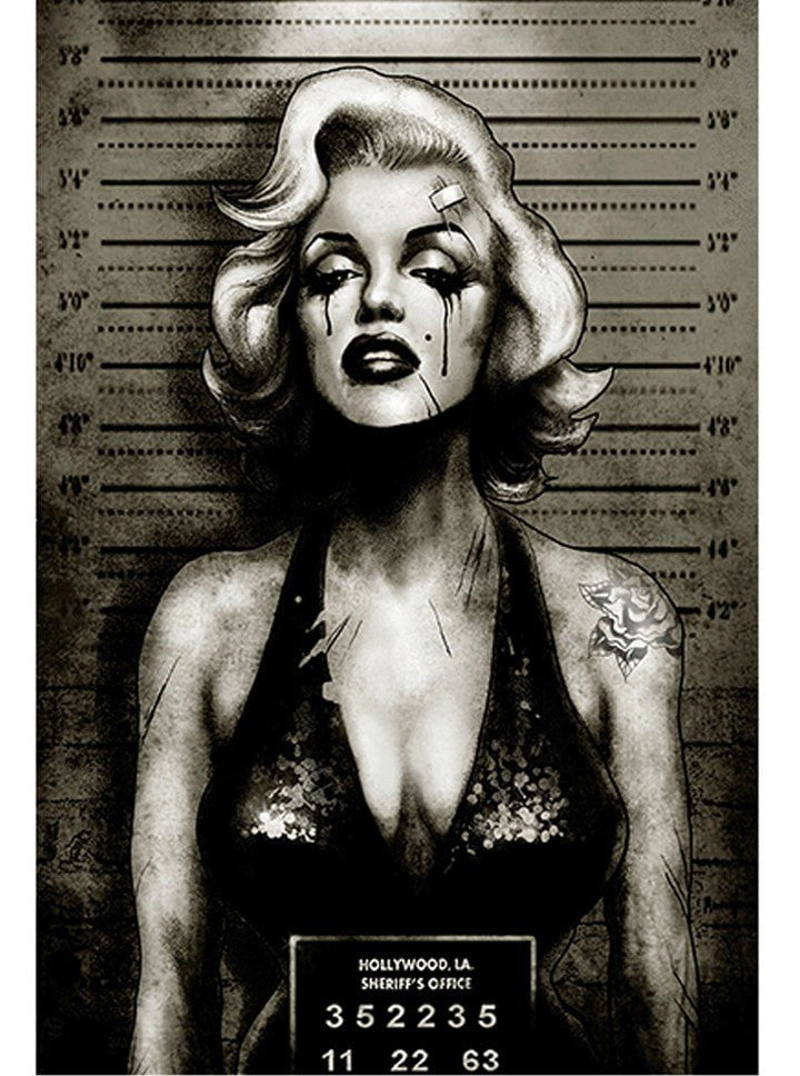 """Monroe Mugshot"" Print by Marcus Jones for Black Market Art - www.inkedshop.com"