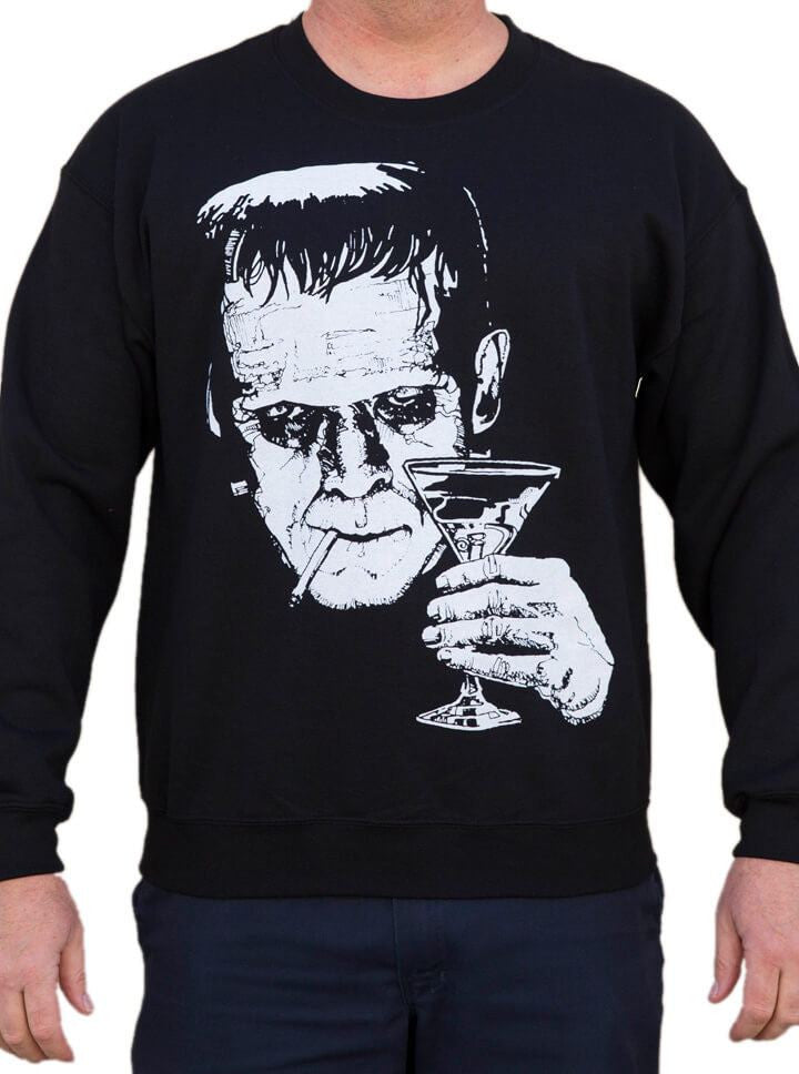 "Men's ""Monster Martini"" Sweatshirt by Lowbrow Art Company (Black) - www.inkedshop.com"