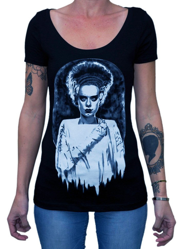 "Women's ""Monster Bride"" Scoop Neck Tee by Lowbrow Art Company (Black) - www.inkedshop.com"