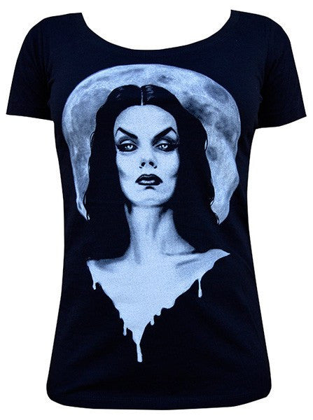 "Women's ""Moonlight"" Scoop Neck Tee by Lowbrow Art Company (Black) - www.inkedshop.com"