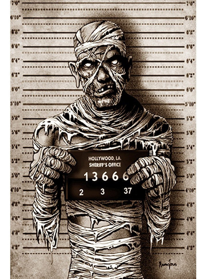 """Mummy Mugshot"" Print by Marcus Jones for Black Market Art - www.inkedshop.com"