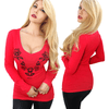 "Women's ""Nashville Rose"" Deep V Long Sleeve Tee by Demi Loon (More Options)"