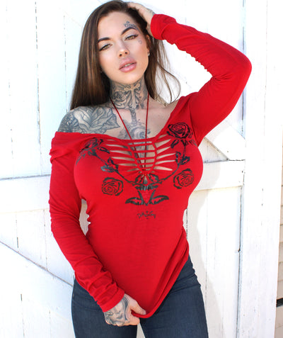 Women's Gothic Rose Slashed Long Sleeve Tee by Demi Loon
