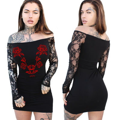 Women's Gothic Rose Lace Long Sleeve Mini Dress by Demi Loon