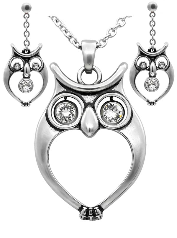 """Watchful Owl"" Necklace and Earrings by Controse (Silver)"