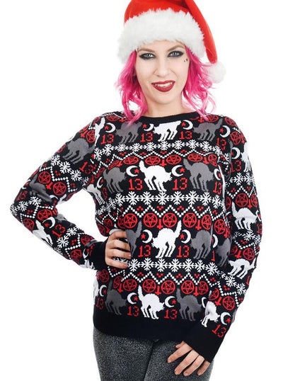"Women's ""Black Cat & Pentagram"" Ugly Christmas Sweater by Rat Baby (Black)"