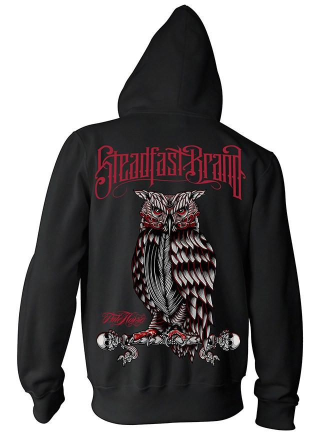 "Men's ""Perched Owl"" Pullover Hoodie by Steadfast Brand (Black)"