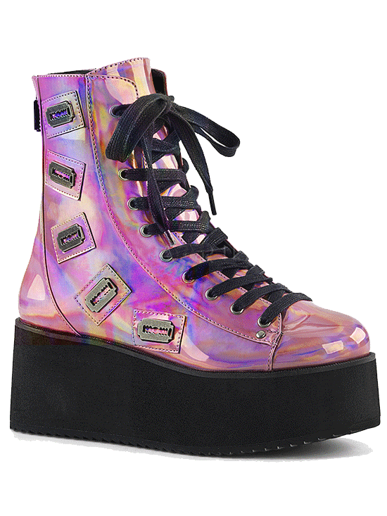 Women's Grip-103 Faux Leather Platform Ankle Boot by Pleaser (Pink Hologram)