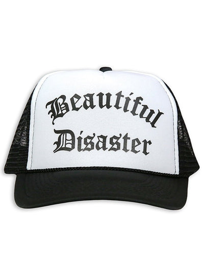 """PUNK PRINCESS"" TRUCKER HAT BY BEAUTIFUL DISASTER (BLACK/WHITE)1"