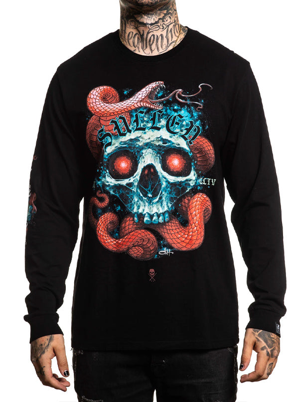 "Men's ""Red Scales"" Long Sleeve Tee by Sullen (Black)"