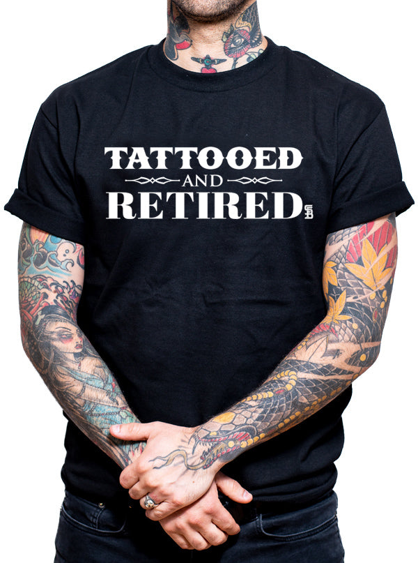 "Men's ""Tattooed and Retired"" Tee by Steadfast Brand (Black)"