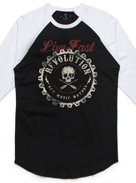 "Men's ""Sprocket"" Raglan Baseball Tee by 7th Revolution (Black/White) - www.inkedshop.com"