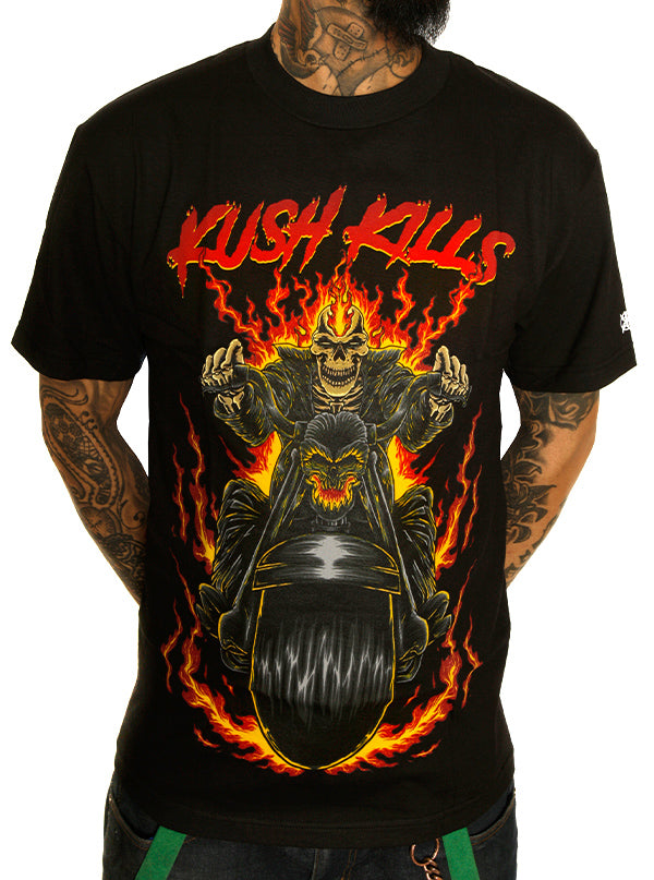 Men's Skull Rider Tee by Kush Kills Clothing (Black)