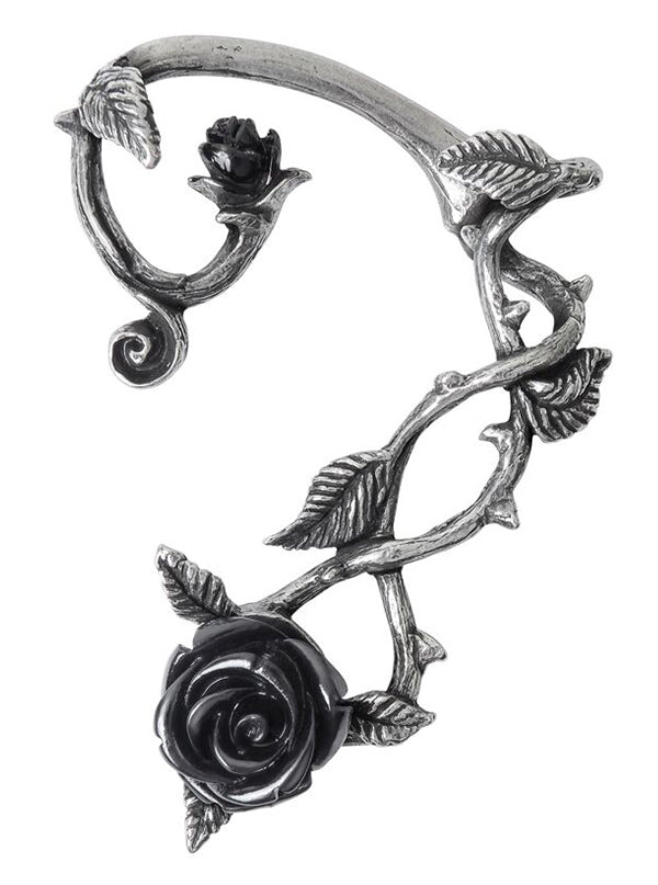 Black Rose Ear Wrap by Alchemy of England (Pewter)